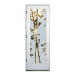 Sans Soucie Art Glass (door frame material Plastpro) - Glass Front Entry Door Sans Soucie Art Glass Bamboo Shoots - Sans Soucie Art Glass Front Door with Sandblast Etched Glass Design. Get the privacy you need without blocking the light, thru beautiful works of etched glass art by Sans Soucie!  This glass is semi-private.  (Photo is view from outside the home or building.)  Door material will be unfinished, ready for paint or stain.  Bronze Sill, Sweep and Hinges. Available in other sizes, swing directions and door materials.  Dual Pane Tempered Safety Glass.  Cleaning is the same as regular clear glass. Use glass cleaner and a soft cloth.