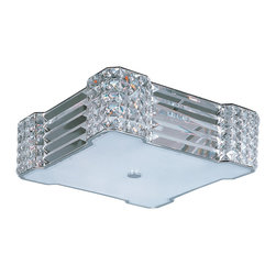 Manhattan-Flush Mount - Contrasting array of Beveled Crystal create an elegant contemporary style that integrates seamlessly into today's interior design.  The Polished Chrome frame provides a touch of shimmer without competing with the brilliance of the crystal.