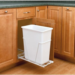 Rev-A-Shelf - Rev-A-Shelf Trash Receptacles 30-quart Pull-Out Waste Container White RV-9PB S - Keep you trash container out of sight but easily accessible with the Rev-A-Shelf 30-Qt. Pull-Out Waste Container. Easy to install this waste container is perfect for a kitchen base cabinet and has 100 lb. rated full-extension ball-bearing slides for smooth and reliable operation. Durably made with steel frame construction in a white finish an optional door kit is available for convenient 1-step opening and closing. Color: White.