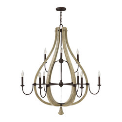 Frederick Ramond - Fredrick Ramond Middlefield 9-Light Chandelier - Middlefield's rustic chic design captures a historical feel with its solid distressed wood and steel construction. Several styles feature a pear-shaped wood finial as an elegant detail that may be hung inside or outside the frame.