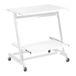 Euro Style - Zeus Computer Cart without Keyboard Tray - Powder epoxy coated steel frame. Adjustable tempered glass shelf. Industrial locking casters. 19.09 in. W x 26.77 in. D x 28.74 in. H (35.3 lbs.)Grand ideas for small spaces, the smooth and clean geometric shapes give your rooms a trendy, up-to-date look. The furniture design make your rooms stylish and sophisticated, symbolizing your self confidence.