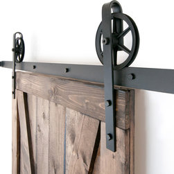 White Shanty - Industrial Spoked European Sliding Door Hardware Set, Black, 8ft - This is a beautiful 5-10ft vintage steel sliding barn door hardware set. Made in the USA from high quality steel. ( Lifetime Warranty )