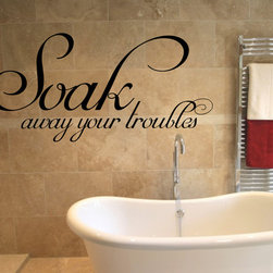 StickONmania - Soak Away Your Troubles #1 Sticker - A nice sticker for your bathroom. Decorate your home with original vinyl decals made to order in our shop located in the USA. We only use the best equipment and materials to guarantee the everlasting quality of each vinyl sticker. Our original wall art design stickers are easy to apply on most flat surfaces, including slightly textured walls, windows, mirrors, or any smooth surface. Some wall decals may come in multiple pieces due to the size of the design, different sizes of most of our vinyl stickers are available, please message us for a quote. Interior wall decor stickers come with a MATTE finish that is easier to remove from painted surfaces but Exterior stickers for cars,  bathrooms and refrigerators come with a stickier GLOSSY finish that can also be used for exterior purposes. We DO NOT recommend using glossy finish stickers on walls. All of our Vinyl wall decals are removable but not re-positionable, simply peel and stick, no glue or chemicals needed. Our decals always come with instructions and if you order from Houzz we will always add a small thank you gift.