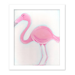"Doodlefish - Fiona the Flamingo in White Raised Frame - 18""x15"" Framed Giclee of a preppy and tropical pink flamingo on a blue washed background. Artwork is available in various frame choices."