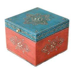 """MarktSq - Wooden Hand Painted Jewelry Box in Blue and Orange - Rustic hand painted jewelry box ideal for storing jewelry or other trinkets. The box has a distressed finish and a brass pull and features an intricate pattern in silver that adds to it's elegance. The approximate dimensions are L 6.25"""" x W 6.25"""" x H 4.75"""""""