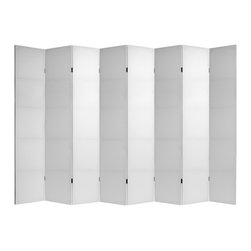 Oriental Furniture - 7 ft. Tall Do It Yourself Canvas Room Divider - 8 Panels - These are wonderful, decorative blank slates, ready for any and all of your most creative ideas!