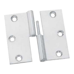 """Renovators Supply - Cabinet Hinges Bright Chrome Square 2 x 2"""" LOR Cabinet Hinge - These hinges are chrome.  The wings have countersunk holes allowing the mounting screws to fit flush.  The cylinder is precision-machined for a perfect fit and the stainless steel pin will never corrode or bind.  When the hinge is open flat it is 2"""" x 2"""". One pair of small size finials fit each hinge.  This is a right lift-off hinge (with the door opening toward you, the knob should be on the right side)."""