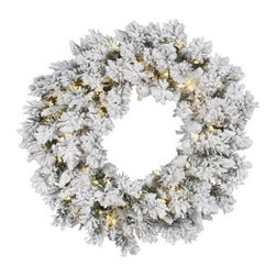 Vickerman Flocked Snow Ridge Pre-Lit LED Wreath - Brilliantly lit with LED lights, the Vickerman Flocked Snow Ridge Pre-Lit LED Wreath welcomes everyone into your home with a little holiday cheer. Beautifully crafted, this frost-kissed wreath is available in your choice of size. About VickermanThis product is proudly made by Vickerman; a leader in high quality holiday decor. Founded in 1940; the Vickerman Company has established itself as an innovative company dedicated to exceeding the expectations of their customers. With a wide variety of remarkably realistic looking foliage; greenery and beautiful trees; Vickerman is a name you can trust for helping you create beloved holiday memories year after year.