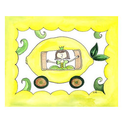 Oh How Cute Kids by Serena Bowman - Lemon Carriage, Ready To Hang Canvas Kid's Wall Decor, 11 X 14 - Would Cinderella's story turn out differently if the carriage wasn't a pumpkin?  The world will never know.