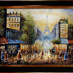 """overstockArt.com - Evening View Of The Eiffel Tower Oil Painting - 30"""" x 40"""" Oil Painting On Canvas This is a remarkable oil painting with exceptional use of color, detail and brush strokes. This oil painting has a delightful setting that is sure to bring many admirers."""