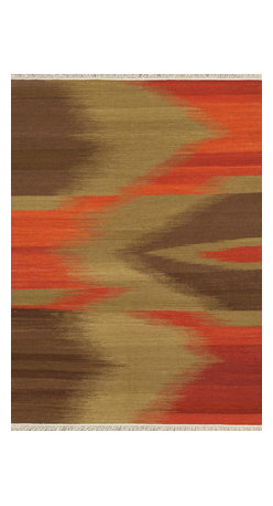"""Loloi Rugs - Loloi Rugs Santana Collection - Red / Brown, 5' x 7'-6"""" - The new Santana Collection takes a modern look at traditional kilims, employing the ancient flat weave construction, but with edgy new patterns for today. Choose from eight all-wool designs that have transitional and modern appeal. Made in India andfinished with fringed ends, Santana's color application recalls today's popular Ikat designs"""