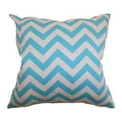 """The Pillow Collection - Xayabury Zigzag Pillow Girly Blue Twill 20"""" x 20"""" - Turn your home into a clean and refreshing sanctuary with this zigzag throw pillow. This accent pillow comes with an interesting graphic pattern in twill and girly blue hue. This decor pillow is the perfect home accessory to add to your sofa, chair or bed. The square pillow is made from 100% soft cotton fabric. This 20"""" pillow is versatile and suits many decor styles. Hidden zipper closure for easy cover removal.  Knife edge finish on all four sides.  Reversible pillow with the same fabric on the back side.  Spot cleaning suggested."""