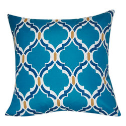 """Loom & Mill - Loom and Mill Damask Pillow, Dark Blue, 21"""" x 21"""", P0091A - This Loom and Mill Damask Pillow would make a great addition to a couch or bed."""