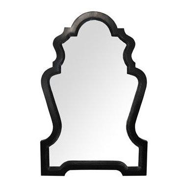 NOIR - NOIR Furniture - Chipendale Mirror in Hand Rubbed Black - GMIR127HB - Features: