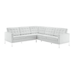 Modway Furniture - Modway Loft Leather L-Shaped Sectional Sofa in White - Leather L-Shaped Sectional Sofa in White belongs to Loft Collection by Modway The mid-20th century was a time when hopes were at their highest. Technological developments were bustling forward, and the new world was just barely visible in the distance. But this time also presented a dilemma of sorts. The test of this forthcoming era was to be whether industry would foster comfort or stifle it. What makes the Loft series so complete? At first glance, it displays a pleasant linear design with an external tubular stainless steel frame. The back and seat are tufted and buttoned to enhance the overall richness of the piece. But can these aspects be said to define the totality of a classic? The answer then must be something profound. A thought that serves as representative of that era, while matching the sentiments of our present age. Our suggestion is that the Loft series conveys the potential of progress. From amidst the steel base, a comfortable seating experience is attained. From out of the exponential surge of technological growth, comes peace and solace. Perhaps this is why Loft is the sofa series of choice for so many Fortune 500 companies. Aside from its iconic feel, the set is symbolic of a time when technological innovation could do no wrong. When ��_��_��_��_��_faster��_��_��_��_��_ was seen only as something positive. The Loft series is the preferred choice for reception areas, living rooms, hotels, resorts, restaurants and other lounge spaces. Set Includes: One - Loft L-Shaped Sectional Sofa in Leather Sectional (1)