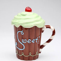 "ATD - 5.75 Inch ""Life is Sweet"" Chocolate Brown Mug with Green Frosting Lid - This gorgeous 5.75 Inch ""Life is Sweet"" Chocolate Brown Mug with Green Frosting Lid has the finest details and highest quality you will find anywhere! 5.75 Inch ""Life is Sweet"" Chocolate Brown Mug with Green Frosting Lid is truly remarkable."