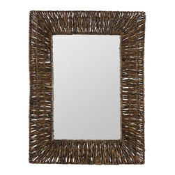 "Cooper Classics - Manhattan Brown Recycled Snack Wrap Rectangular Mirror - Enrich a room's appearance with the handsome Manhattan Mirror.  This striking wall mirror features a brown recycled snack wrap finish. Frame Dimensions: 23.75""W X 31""H; Mirror Dimensions: 13""W X 21""H; Finish: Brown; Material: Recycled Newspaper and Snackwrap; Beveled: No; Shape: Rectangular; Weight: 14 lbs; Included: Brackets, Ready to Hang Vertically or Horizontally"