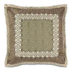 Frontgate - Laurent Spa Mitered Pillow - From Eastern Accents. Dry clean only recommended. Because this bedding is specially made to order, please allow 4-6 weeks for delivery.. The Galbraith Bedding Collection is an elegant, monochromatic ensemble. A pleated velvet fabric gives the collection metallic sheen and texture. Beaded trimming and tassels enhance the collection's urban appeal. .  . . Made in Italy. Coordinates with the Galbraith Bedding Collection.