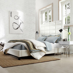Inspire Q - INSPIRE Q Tower Whte Bonded Leather High Profile Upholstered Queen-sized Bed - This Sarajevo bed features a regal,high-profile tufted headboard and square tapered legs. This bed is upholstered in a beautiful white bonded leather upholstery.