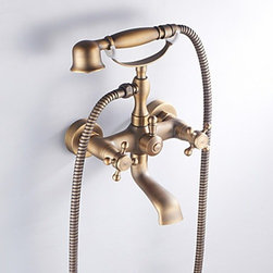 Bathtub Faucets - Antique Brass Finish Inspired Tub Faucet with Hand Shower--faucetsmall.com
