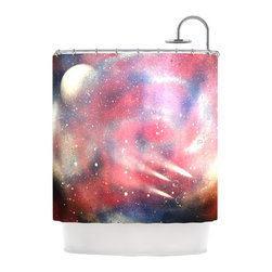 """Kess InHouse - Infinite Spray Art """"Cascade Swirl"""" Red Pink Shower Curtain - Finally waterproof artwork for the bathroom, otherwise known as our limited edition Kess InHouse shower curtain. This shower curtain is so artistic and inventive, you'd better get used to dropping the soap. We're so lucky to have so many wonderful artists that you'll probably want to order more than one and switch them every season. You're sure to impress your guests with your bathroom gallery in addition to your loveable shower singing."""