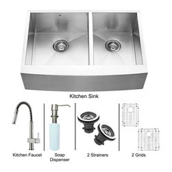 Vigo Industries - 33 in. Double Bowl Sink and Faucet Set - Includes apron front double bowl sink, faucet, soap dispenser, two bottom grids, two strainers, all mounting hardware and hot-cold waterlines.