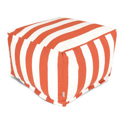 Majestic Home - Outdoor Burnt Orange Vertical Stripe Large Ottoman - Add a little character to your living room or patio with the Majestic Home Goods Large Ottoman. This Ottoman is the perfect accessory to add comfort and style to any room while functioning as a decorative foot stool, pouf, or coffee table. Woven from outdoor treated polyester, these ottomans have up to 1000 hours of U.V. protection and are able to withstand all of natures elements. The beanbag inserts are eco-friendly by using up to 50% recycled polystyrene beads, and the removable zippered slipcovers are conveniently machine-washable.