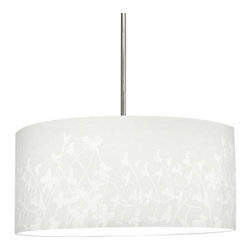 "Progress Lighting - Progress Lighting P8768-01 Chloe 1 Light Pendant in Floral Fabric P8768-01 - Modular pendant system. Choose shade and 1-light stem (P5198) or 3-light stem (P5199) to make complete fixture. 22"" Floral Fabric Shade.ADA Compliant: No Collection: Chloe Energy Star Compliant: No Finish: Floral Fabric Height: 10"" Number of Lights: 1 Pendant Type: Mini Type: Ceiling Pendants Weight: 7 Width: 22""Must be used with P5198 or P5199 to make a complete unit"