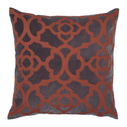 """Benito Pillow 24"""" - Orange/Charcoal - Our stylish Benito pillow adds dramatic color and a striking pattern to furniture pieces, an easy update to enhance your decor. We've combined a vibrant Orange cotton percale appliqued design with a sophisticated Charcoal cotton velvet background to create this chic pillow, and finished it with a cotton backing and hidden zipper. The generously sized 24 inch square pillow is filled with a sumptuous feather and down insert. Dry clean only."""