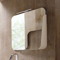 Arblu - Mirror Quadra | Arblu - Made in Italy by Arblu.The sleek and functional Mirror Quadra brings charming personality to modern bathrooms. This striking mirror has an integrated shelf on either the left or right side that works perfectly for housing toiletries and bathroom accessories. The organic shape of the shelf cut-out creates a fluid peak-a-boo section that ties bathroom wall colors into the overall room design. Also available as a storage mirror. Product Features: