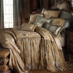"""Sweet Dreams - Sweet Dreams Queen Coverlet, 60"""" x 80"""" with 24"""" Drop - Inspired by romantic dreams of ball gowns and fairy tales, these linens by Sweet Dreams® combine layers of color and texture to give luxury new depths. The petite floral medallion damask pattern of the blue and ivory silk coverlet is softened by an..."""