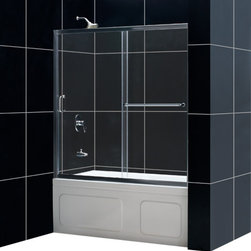 DreamLine - DreamLine SHDR-0960580-04 Infinity-Z 56 to 60in Frameless Sliding Tub Door, Clea - The Infinity-Z sliding tub door delivers a classic design with a fresh attitude. Features of convenience like a handy towel bar and fast release wheels that make cleaning the glass and track a cinch are combined with the modern appeal of a frameless glass design. Choose the simply sophisticated style of the Infinity-Z sliding tub door. 56 - 60 in. W x 58 in. H ,  1/4 (6 mm) clear tempered glass,  Chrome or Brushed Nickel hardware finish,  Frameless glass design,  Width installation adjustability: 56 - 60 in.,  Out-of-plumb installation adjustability: Up to 1 in. per side,  Anodized aluminum profiles and guide rails,  Convenient towel bar on the outside panel,  Aluminum top and bottom guide rails may be shortened by cutting up to 4in,  Door opening: 21 3/8 - 25 3/8 in.,  Stationary panel: 27 in.
