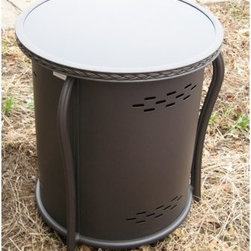 """Outdoor GreatRoom Propane Tank Cover and Side Table with Glass Top - Holding a lot of people back from getting an exquisite looking fire pit is the thought of an ugly propane tank ruining the flow of your outdoor furniture setup. Thankfully, the Outdoor GreatRoom LP Tank Cover and Side Table with Glass Top not only hides the propane tank from view, but offers a stunning table to complement your fire pit. This handy and handsome cover/table combo features a durable aluminum frame coated in a Doro Brown finish and a sleek black glass top that matches the 42-inch Black Glass Fire Table also available through FirePits.com. Measuring 42.1 diameter x 20.75H inches, the Outdoor GreatRoom LP Tank Cover and Side Table with Glass Top fits up to a 20 lb. LP tank perfectly.About Outdoor GreatRoom CompanyWith over 50 patents to its name, the Outdoor GreatRoom Company is one of the most innovative names in gas fireplaces and outdoor design, period. Since 1975, Dan, Ron, Steve, and Ger have produced a yard of amazing products, like the Heat-N-Glo, that have changed the industry. In fact, they want to change the way you think about your backyard or patio. It's about bringing the luxury and comfort of the living room outside to make an """"""""Outdoor Room."""""""" They want you to, literally, think outside the box. To make that beautiful concept a reality, Outdoor GreatRoom designs, manufactures, and sells pergolas, outdoor kitchens, grills, outdoor furniture, fireplaces, fire pits, lighting, and heating products. There's no better name in outdoor leisure than this fine Minnesotan company."""