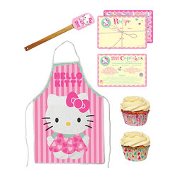 Hello Kitty - Hello Kitty Baking Set - Little ones will be excited to whip up their own sweet culinary delights with this Hello Kitty baking set that features a silicone spatula and cookie cutters in the shape of Kitty herself!   Includes apron, spatula, three cookie cutters, 48 cupcake liners and 12 recipe cards Metal / paper / wood / silicone / cotton Imported