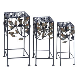 "Benzara - Durable and long lasting Metal Plant Stand - Set of 3 - Add an element of architectural elegance to your garden with this exclusive set of metal planters. The stylishly crafted metal planter is sure to liven up your gardens or backyards with its stunning presence. Versatile and attractive, these planters are perfect to hold your finest plants and flowers beautifully. Made out of excellent quality solid metal, these planters are durable and strong to hold heavy plants as well. They have a long life span and a unique quality of appearance retention. With enhanced appeal added to the floral designs, they add to the looks of your garden perfectly. The planters are an optimum utility item and perfect for any modern or conventional decor. These planters are easily movable and makes for an added attraction in your lush gardens. Add them to your garden decor to enhance the charm and appeal of your surroundings.; Easily movable; Made of high quality metal; Durable and long lasting; Suits modern and conventional decor; Weight: 14 lbs; Dimensions:12""W x 12""D x 29""H; 10""W x 10""D x 25""H; 8""W x 8""D x 22""H"