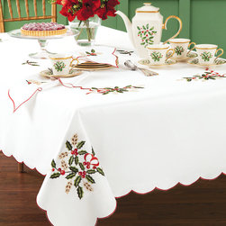 Lenox White Cutwork Holiday Nouveau Christmas Tablecloth - Underneath it all, I would choose something simple like this. I like that this tablecloth is white and that everything that you put on it will pop.