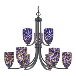 Design Classics Lighting - Modern Chandelier with Blue Glass in Matte Black Finish - 586-07 GL1009D - Contemporary / modern matte black 9-light chandelier. Takes (9) 100-watt incandescent A19 bulb(s). Bulb(s) sold separately. UL listed. Dry location rated.