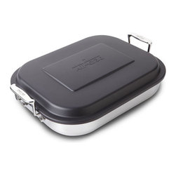 """All-Clad - All-Clad Stainless Steel Lasagna Pan w/Lid (59946) - This 15 x 12 x 2 1/2"""" pan is a cook's kitchen essential for preparing traditional family favorites such as cheese lasagna and hearty baked casseroles. Features an 18/10 stainless steel interior and polished stainless exterior. It is dishwasher safe and will not react with foods. Large, easy-to-grip ergonomic handles offer greater stability when lifting the pan to and from the oven and gently rounded sides make removal of foods quick and easy."""
