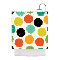 """Kess InHouse - Daisy Beatrice """"Retro Dots"""" Circles Shower Curtain - Finally waterproof artwork for the bathroom, otherwise known as our limited edition Kess InHouse shower curtain. This shower curtain is so artistic and inventive, you'd better get used to dropping the soap. We're so lucky to have so many wonderful artists that you'll probably want to order more than one and switch them every season. You're sure to impress your guests with your bathroom gallery in addition to your loveable shower singing."""