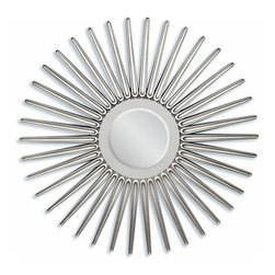 "ACMACM97054 - Silver Finish Star Design Hanging Wall Mirror - Silver finish star design hanging wall mirror. Measures 45"" dia."