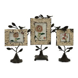 Mona Photo Frames - Set of 3 - Set of three romantic tin and iron photo fames in various sizes with bases and perched birds.
