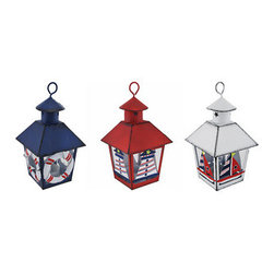 Set of 3 Red/White/Blue Nautical Mini Metal Tealight Lanterns - This set of 3 miniature metal tealight lanterns can be displayed either hanging or sitting on a tabletop, making it a great decor accent or part of a party centerpiece. Each lantern is approximately 7 inches tall (not including the hanger), and measures 4 inches by 4 inches around the top. They are painted with enamel, have a distressed finish, and are hand painted. The tealight holder is removable from the bottom and can accommodate up to 1 1/2 inch tealight candles. Use battery operated LED tealights for worry-free accent lighting that lasts all night. This set of lanterns is a great accent in rooms, on porches, or at bars with beach or nautical themes.