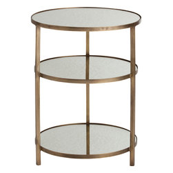 Kathy Kuo Home - Percy Tiered Contemporary Mirrored Antique Brass End Table - The combination of brass metal finish and textured mirrored shelving make this uniquely modern end table a standout. With round construction and easy access to each tier from all sides, you'll soon be relying on this stylish table to hold everything from magazines and remotes in your contemporary loft, to makeup and beauty lotions in your Hollywood style boudoir.