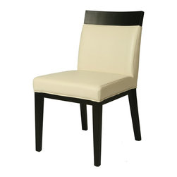 Pastel Furniture - Pastel Furniture Elloise Side Chair X-048-BB-011-OE - The Elloise side chair is an elegant yet simple design with clean lines and classic appeal. The chair's simple design adds an element of modern sophistication to any dining area. The chair is of ballarat black wood finish upholstered in bonded white leather.