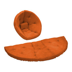 Fresh Futon - Nest Jr. Convertible Futon Chair/Bed, Orange Mattress - After a long hard day of making mud pies and intensive crayoning retreat snuggly to the Nest by lounger in this folded cone-shaped chair or nap hard on the unfolded mattress, you can even combine two for a wider naps or play surface. Winner of the Best Product Innovation Cup 2009. Available in 9 twill fabric color options.