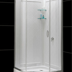 "Dreamline - Solo 31 3/8"" x 31 3/8"" Frameless Sliding Shower Enclosure, Base & Backwalls Kit - This DreamLine kit includes a space saving SOLO shower enclosure, SlimLine shower base and coordinating shower backwalls for a winning combination. The SOLO's sliding shower door provides easy access to the shower without requiring a large open space. The SlimLine shower base incorporates a low profile design for a sleek modern look, is scratch and stain resistant and fiberglass reinforced for added strength. The wall panels have a tile pattern and are easy to install with a trim-to-size fit. Both the shower panels and shower base are made from durable and attractive Acrylic/ABS advanced materials. A kit from DreamLine is all you need to update an entire shower space."