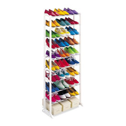 Lynk - 30 Pair Shoe Rack in White - Wide base provides stability even on thick carpets. Locks together in seconds. Patented. Made from steel and polymer. Made in USA. 21.9 in. W x 10 in. D x 55.25 in. H (5 lbs.). Assembly InstructionLynk products offer great storage solutions for the kitchen, pantry, closet, laundry, bath and garage.