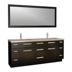"""Design Element - Moscony 72"""" Double Sink Vanity Set in Espresso - The Moscony 72"""" double-sink vanity is uniquely constructed of quality woods simple lines and a white finish complemented by a beautiful quartz countertop and rectangular under-mount sinks. Being twice as hard as granite harder than steel and titanium and possessing a hardness just below that of gemstones quartz is an ideal material for countertops. It's hygienic because bacteria can't penetrate the surface and practically maintenance-free since no sealing polishing or reconditioning is required. Moreover quartz doesn't stain and is more heat-resistant than other countertop materials.This modern vanity is well equipped with six pullout drawers and five soft-closing cabinet doors (across the middle of the vanity). A framed matching white mirror is also included."""