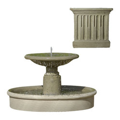 Campania International - Esplanade Fountain - Verde (VE) - 600lbs. Shipping is available throughout the continental United States. As these fountains are made to order, please allow 4 to 6 weeks for delivery. Drop ship is curbside delivery only.  And finally: Campania has other finishes, these are just the ones that Potted likes best.