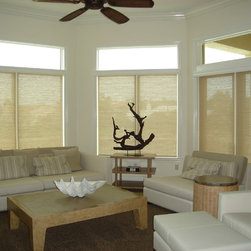Coastal Contemporary - Alustra Woven Textures from Hunter Douglas with the Power Rise operating system